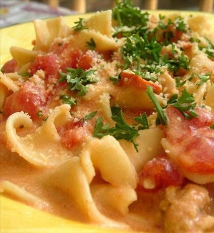 pasta with sausage, tomatoes and cream