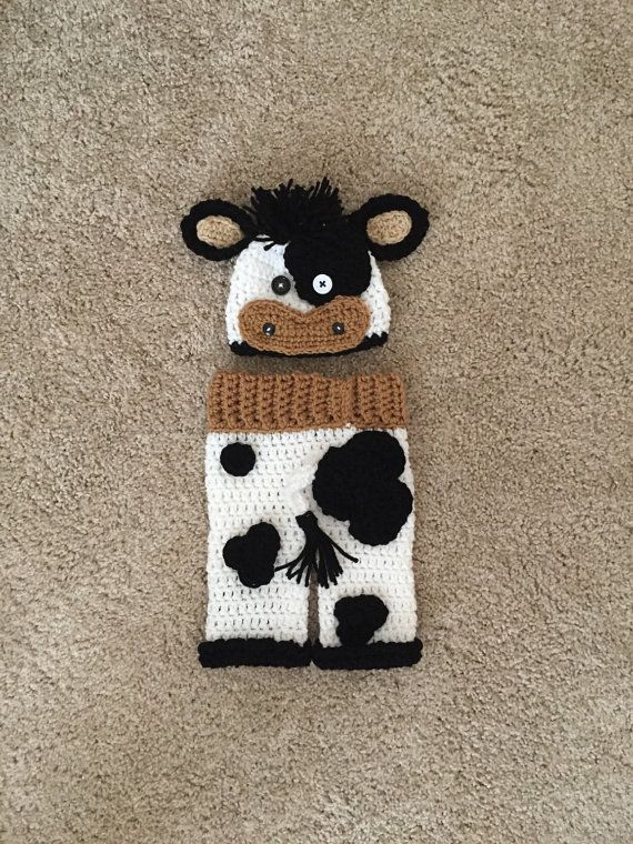 Boy Black and White Crochet Cow Hat and Pant by DanitasBoutique