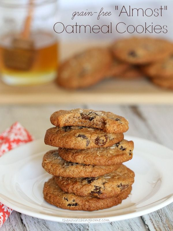 Although there isn't a single oat in these beauties, the taste and texture is so reminiscent of their namesake, they're certain to bring a smile to your face!   Unsweetened shredded coconut is the secret behind this cookie's chewy texture reminiscent of the oatmeal cookies we grew up enjoying.   So grab a glass of milk and get ready for these delightful honey-sweetened treats!