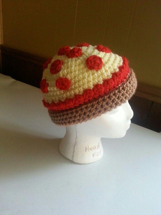 Crochet pizza hat