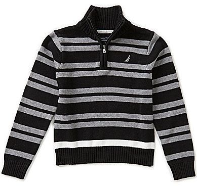 Nautica Big Boys 8-20 Striped Mockneck Quarter-Zip Sweater
