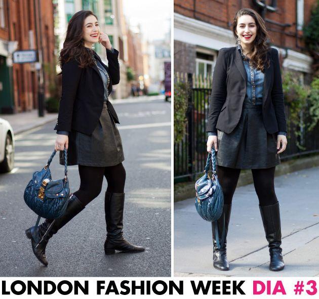 Look, London Fashion Week, Gabi, Fhits, Colcci, Camisa jeans, Pedrarias, saia couro fake, bota, roupa termica, Londres