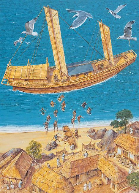 A fully rigged Kenminsen Japanese pirate ship in action in a raid on Korea, 1419