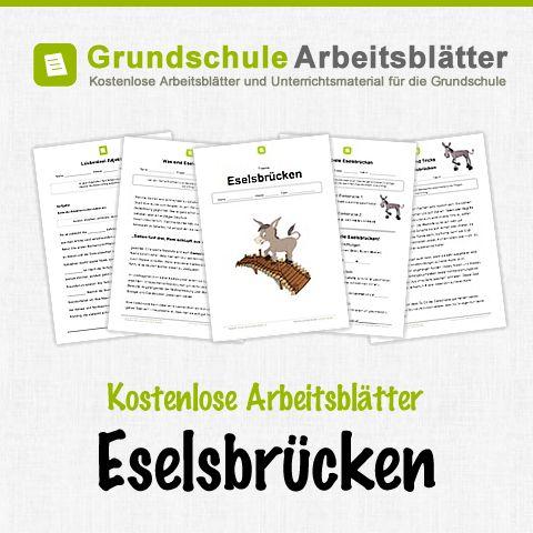 Kostenlose Arbeitsblätter und Unterrichtsmaterial für den Deutsch-Unterricht zum Thema Eselsbrücken in der Grundschule.
