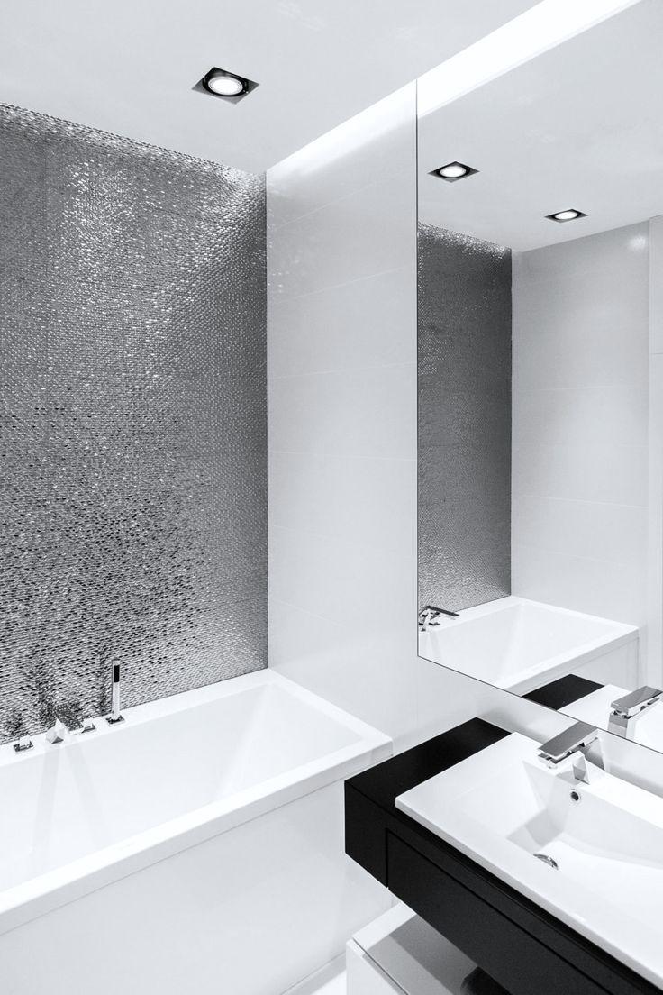 Beliani modern malaga bathroom vanity with sink cabinets and mirrors - Design Studio Dragon Art Anna Maria Soko Owska Private Apartment In New Orlowo