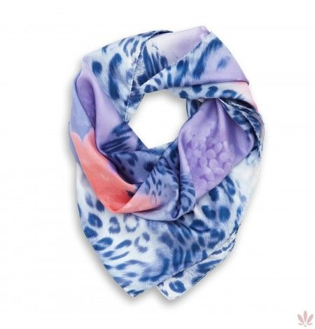 Leopard Blue Garden Square Scarf  Artisan crafted 100% twill silk square scarf with machine-hand crafted borders, made in Italy, 90 cm x 90 cm - 35 in x 35 in. Free UPS courier delivery