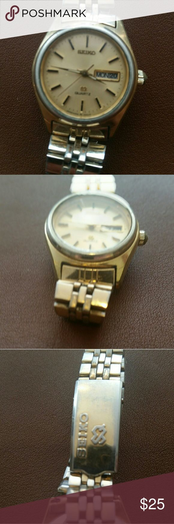 Vintage Seiko Quartz Watch WORKING Classic early 1990's style Seiko Quartz women's wristwatch with brand new battery. Gold tone is a bit faded and face has some scratches, but watch works well. Seiko Accessories Watches
