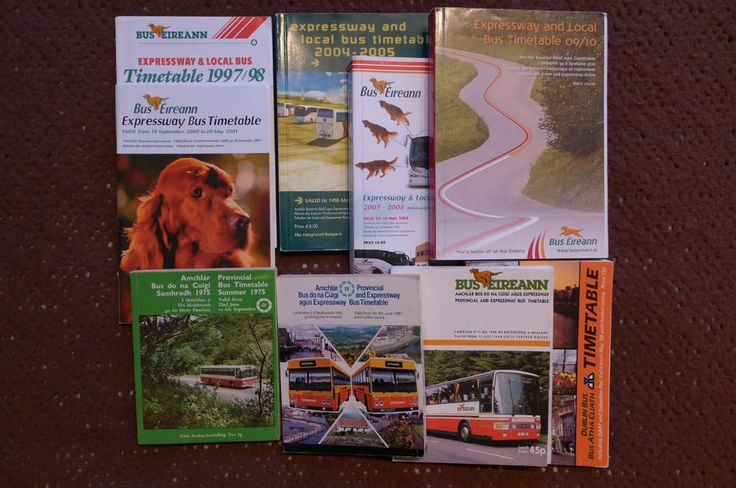 Irish bus timetables - various dates 1975 to 2010