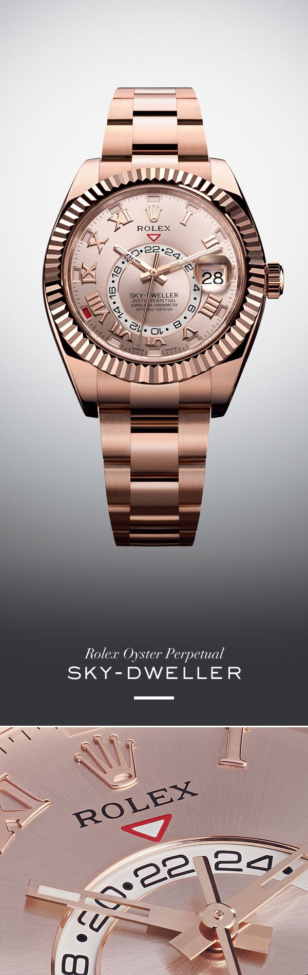 Rolex Sky-Dweller 42 mm in Everose with a Sundust, sunray finish dial and Oyster Bracelet. #RolexOfficial
