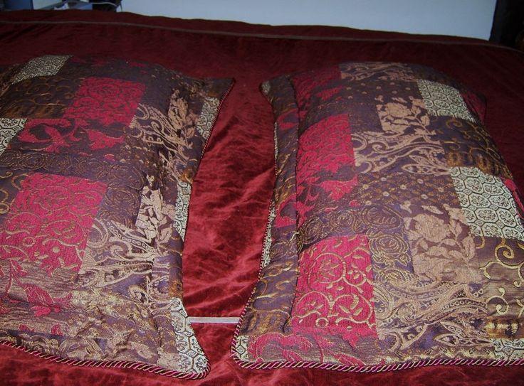 2 Croscill Galleria Patchwork Jacquard, Paisley, Red King Size Pillows w/Shams #Croscill #GalleriaDamaskPaisley