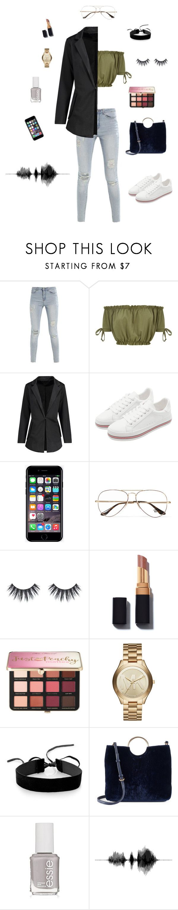 """""""Just because I'm bored"""" by jillian250 ❤ liked on Polyvore featuring Off-White, Ray-Ban, Sephora Collection, Michael Kors, Simons, LC Lauren Conrad and Essie"""