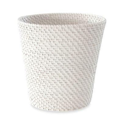 Buy cayman white rattan waste basket from bed bath - White wicker bathroom accessories ...