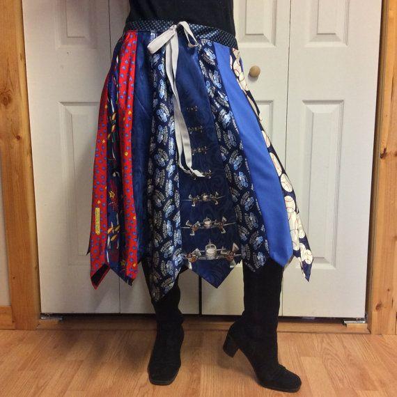 Zijde stropdas rok/Upcycled kleding/Midi rok/gerecycled