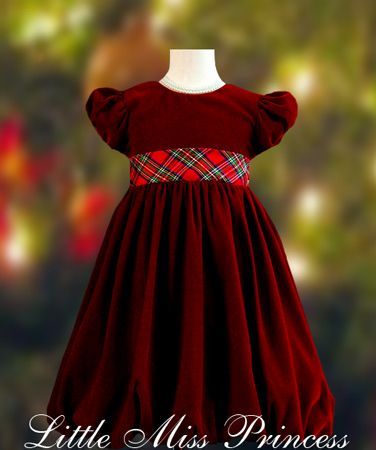 Burgundy Velvet Baby Christmas Dress