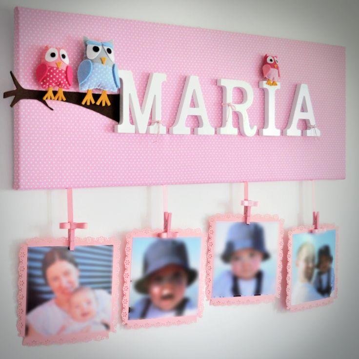 Quadro decorativo para quarto de bebé/criança.  PERSONALIZE o seu!  Para ENCOMENDAR: prendas@prendascomcarinho.com