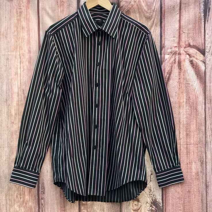 Mens Red Herring multi coloured striped black shirt with long cufflink sleeves