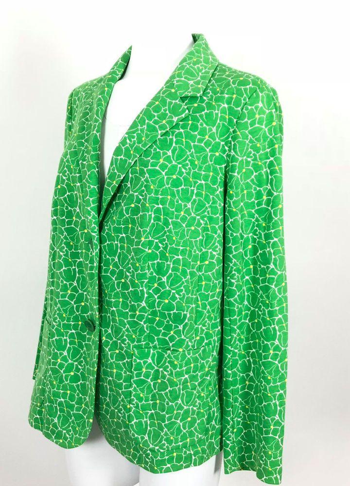 3348a8216dedb Talbots Blazer Plus Size 1X Woman Green Floral Print Knit Jacket Button  Closure  Talbots  Blazer