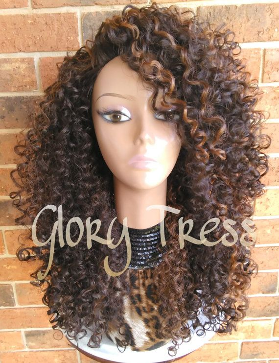ON SALE // Big Kinky Curly Half Wig Ombre Wig Beach Curly