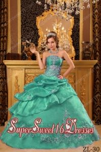 Beautiful Ball Gown Organza Beading 15th Birthday Party Dresses in Turquoise