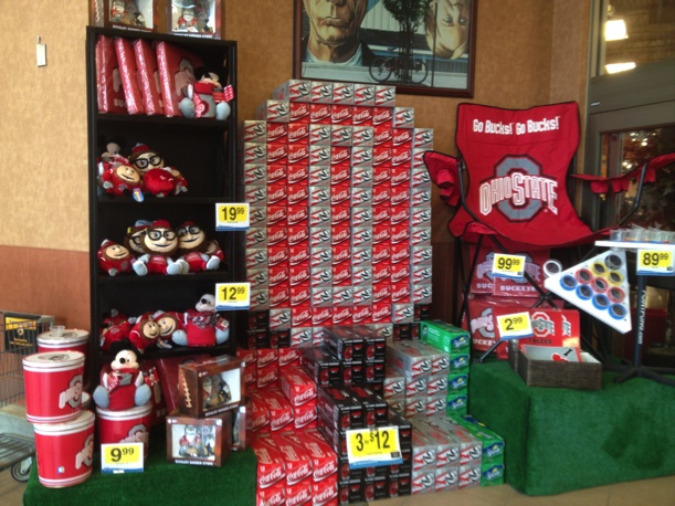 The site I visited was Kroger at 1350 High Street.  This site appealed to me because of all of the Ohio State merchandise used in the display and especially for the fact that they turned ordinary items into a recognizable symbol.  The creator used diet coke cases and coke cases to create a huge Block O.  I learned that you can definitely use everyday items to create art and appeal to people.  I can especially use this in my classroom as part of lesson plans but to also decorate the…