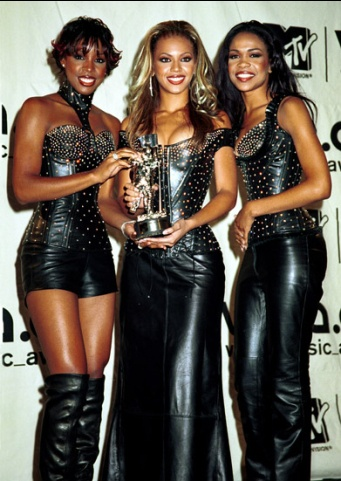 Destiny's Child's first Moonman nearly gets lost among the hundreds of jewels on their bedazzled outfits at the 2000 MTV Video Music Awards.
