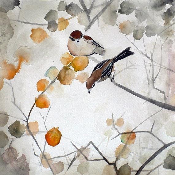 Autumn Bird Art - Asian Art - Animal Art - Fall - 8x8 Giclee Print by Christine Lindstrom via Etsy