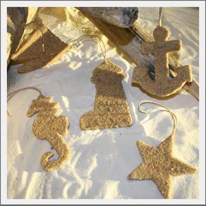 Sand ornaments for a beachy Christmas tree!