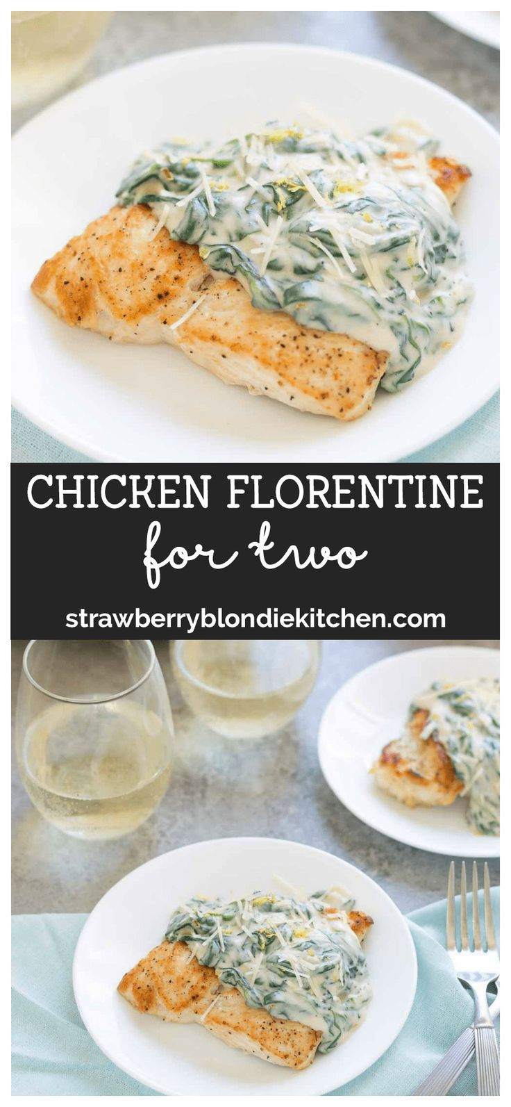 This one pan Chicken Florentine for 2 is perfect for date night in.  Creamy, cheesy spinach sauce is spooned over pan roasted chicken breasts to bring dinner to the table in under 30 minutes. #mealsfortwo #mealsfor2 #dinnerfortwo #chickenrecipes #chickenflorentine #onepan #onepanrecipes #chicken #onepanplan
