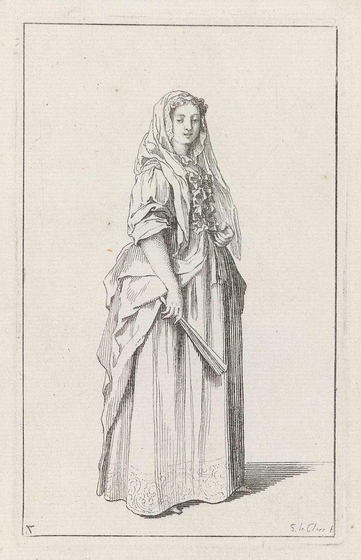 Dame met sluier en dichtgevouwen waaier, naar rechts, Sébastien Leclerc (I), Etienne Jeaurat, 1715 - 1720