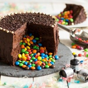 Chocolate cake cut in to and filled with m&ms