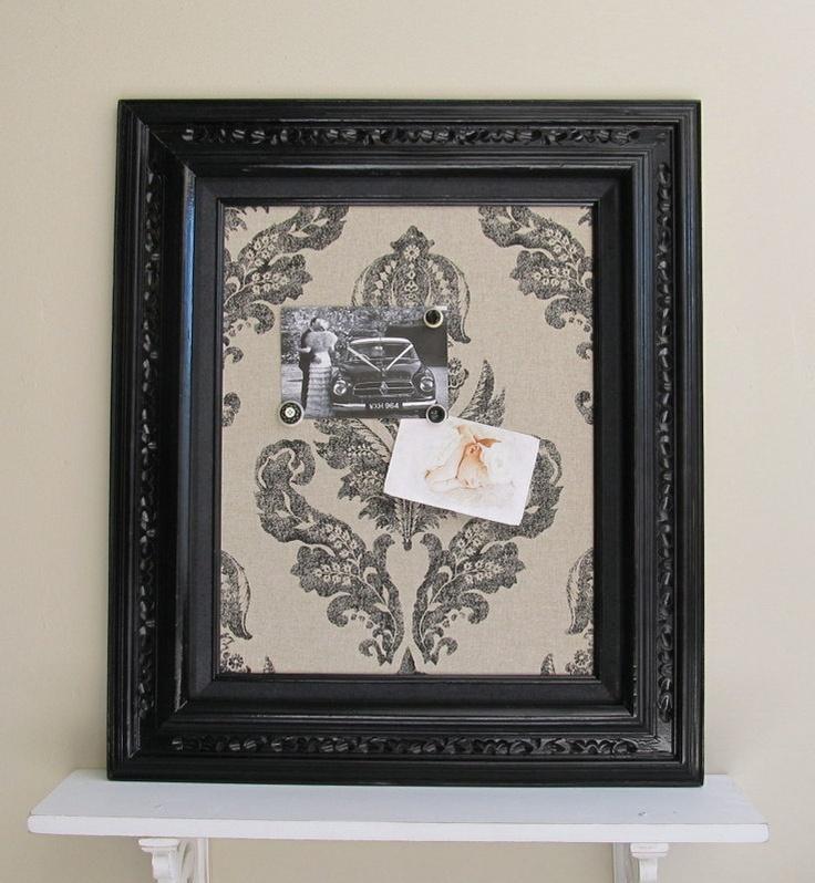 MAGNET BOARD Black Linen Damask Home Decor Hostess Gift French Country Kitchen  Memo Board Framed Bulletin