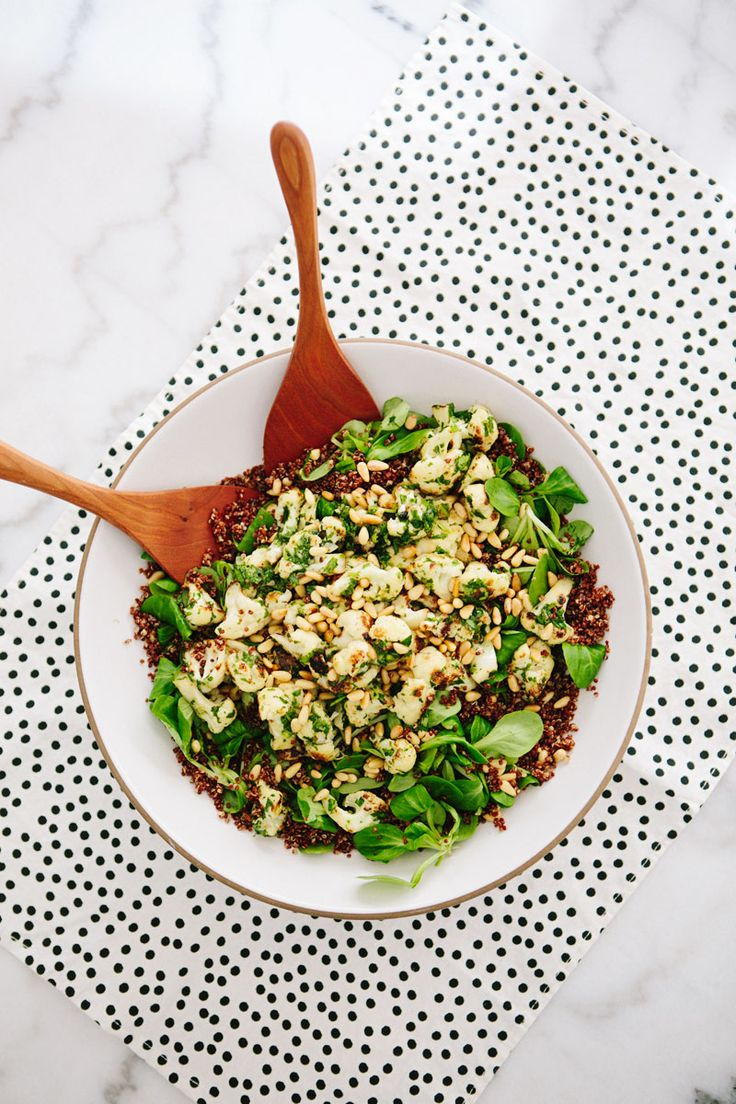 Browned Cauliflower, Mache and Red Quinoa Salad