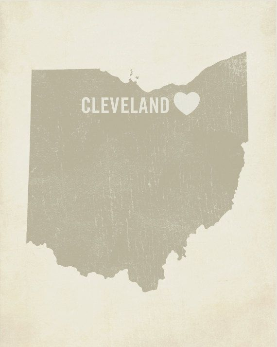 I Love Cleveland Ohio  Wood Block Art Print by LuciusArt on Etsy, $39.00