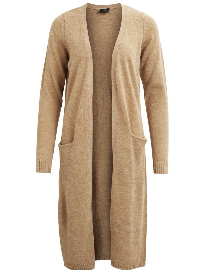 RIVA - LONG KNITTED CARDIGAN, Dusty Camel, large