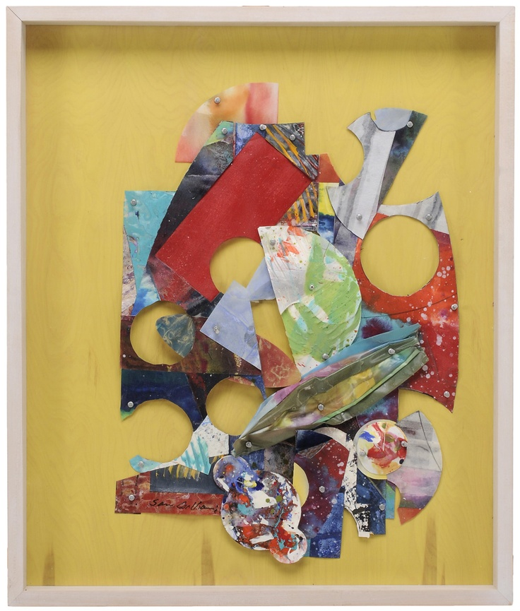"Sam Gilliam, Jr. - Lot 235 of September 2012 Auction -   (District of Columbia/Kentucky, born 1933) By Yellow Wall, 2000, signed lower left ""Sam Gilliam"", collage on painted panel, 38-3/4 x 32-1/2 in.; shadowbox frame - Estimate $2,000 to $3,000"