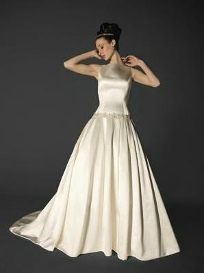 Vintage Sleeveless Satin Wedding Dress