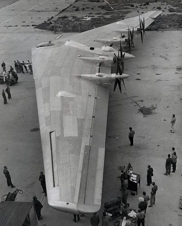 "Northrup ""Flying Wing"" XB-35 Bomber at Northrup Field, Hawthorne, California, for first taxing tests. 5.29.46"