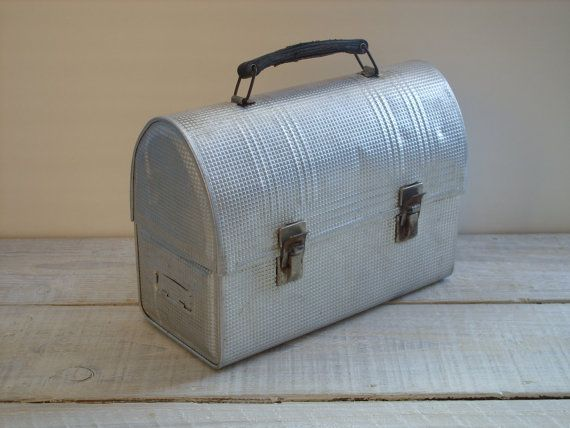 Vintage Textured Metal Lunch Box  Silver Grey Storage by RetrOAmyO