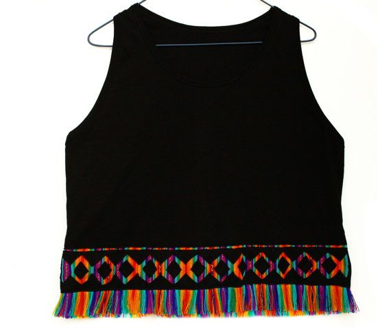 Women's Tshirts, Women's Tops, Trendy Tops, Shirt, Tank Top, T shirt, Rainbow Top, Fringe tshirt with Peruvian fabric, Andean fabric