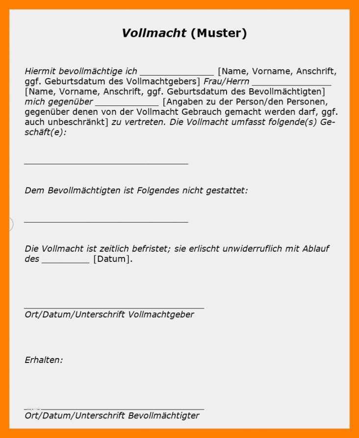 Kundigungsvollmacht De Musterbrief Download