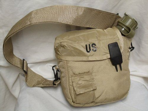 The canteen is 2 Quart Army Issue and OD Green. The Pouch is a Desert Color Tan is brand with carry sling. Military issue 2 Quart Collapsible Water Canteen and Carry Pouch / Cover with Adjustable S...