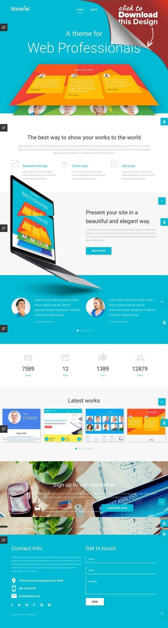 Material Joomla Template CMS & Blog Templates, Joomla Templates, Design & Photography, Design, Web Design Templates