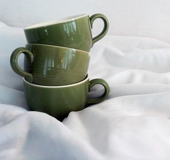 Vintage Midcentury Olive Green Teacups by vintagepoetic on Etsy, $6.00