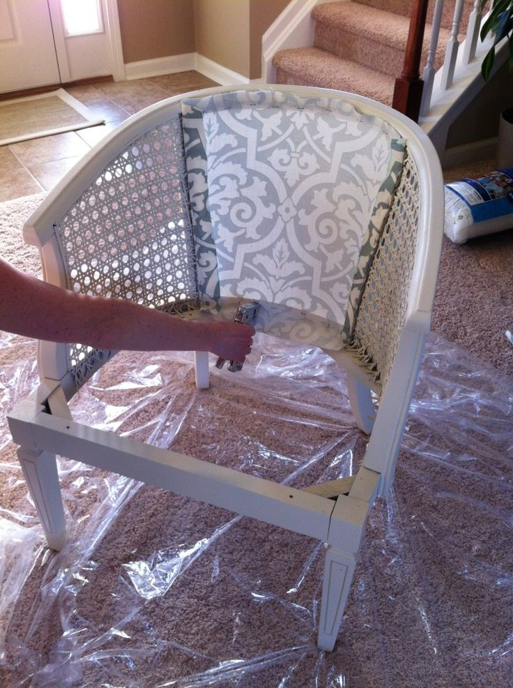 Restyling an old cane back chair!  Looks great!