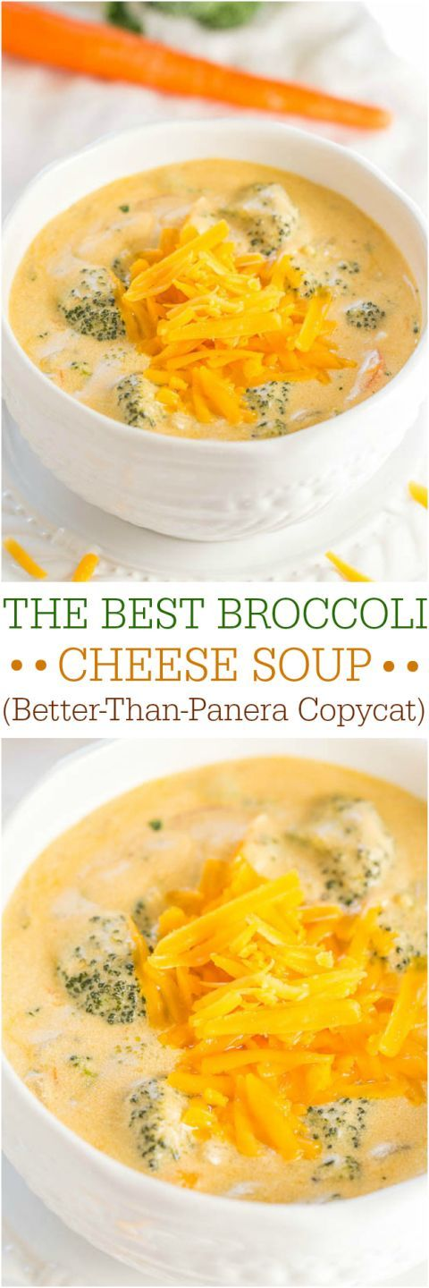 The Best Broccoli Cheese Soup (Better-Than-Panera Copycat) - Make the best soup of your life at home in 1 hour! Beyond words amazing!! == THIS DOES SOUND FANTASTIC. READ ENTIRE RECIPE AND SIDE NOTES BEFORE YOU MAKE THIS TO ENSURE FANTASTIC OUTCOME. ===