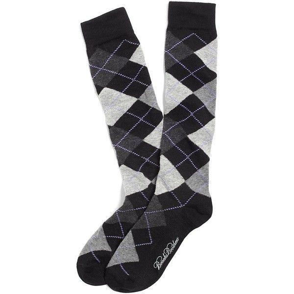Brooks Brothers Argyle Knee High Socks (133.780 VND) ❤ liked on Polyvore featuring intimates, hosiery, socks, accessories, medias, tights, black, knee hi socks, knee high argyle socks and brooks brothers