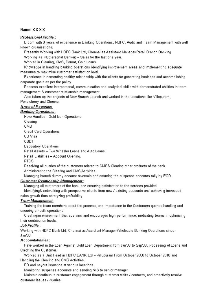 Retail Banking Manager Resume How to create a Retail