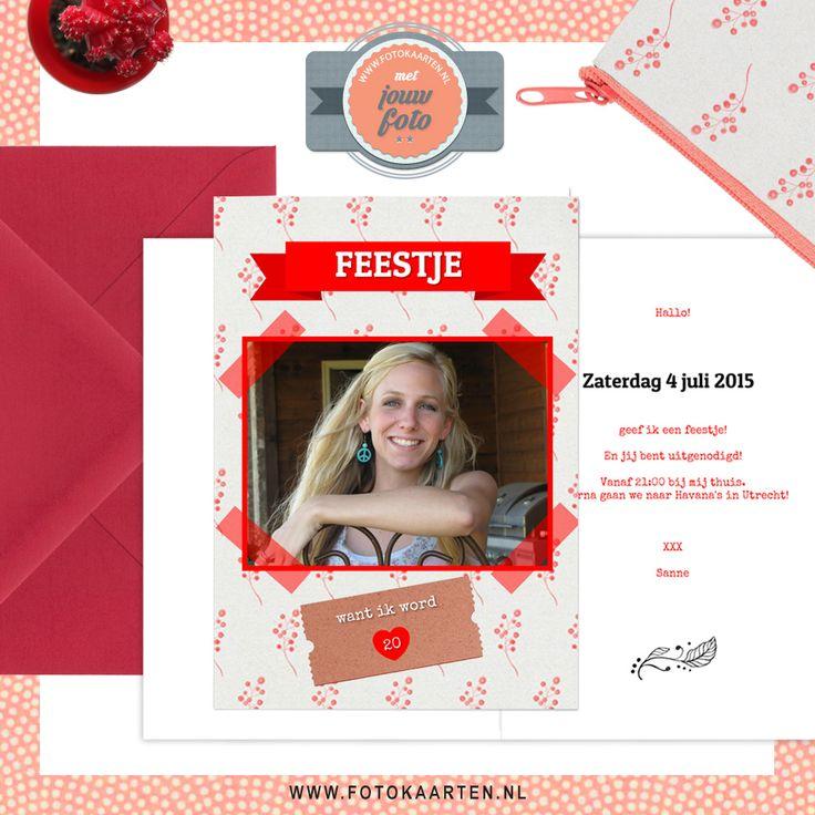 Je kunt dit kaartje veranderen met jouw favoriete kleuren. Een vrolijke uitnodiging voor een feestje. www.fotokaarten.nl