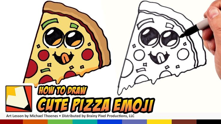 How to Draw Cute Food - Pizza Emoji - Draw Cartoon Pizza Step by Step for Beginners | BP - YouTube
