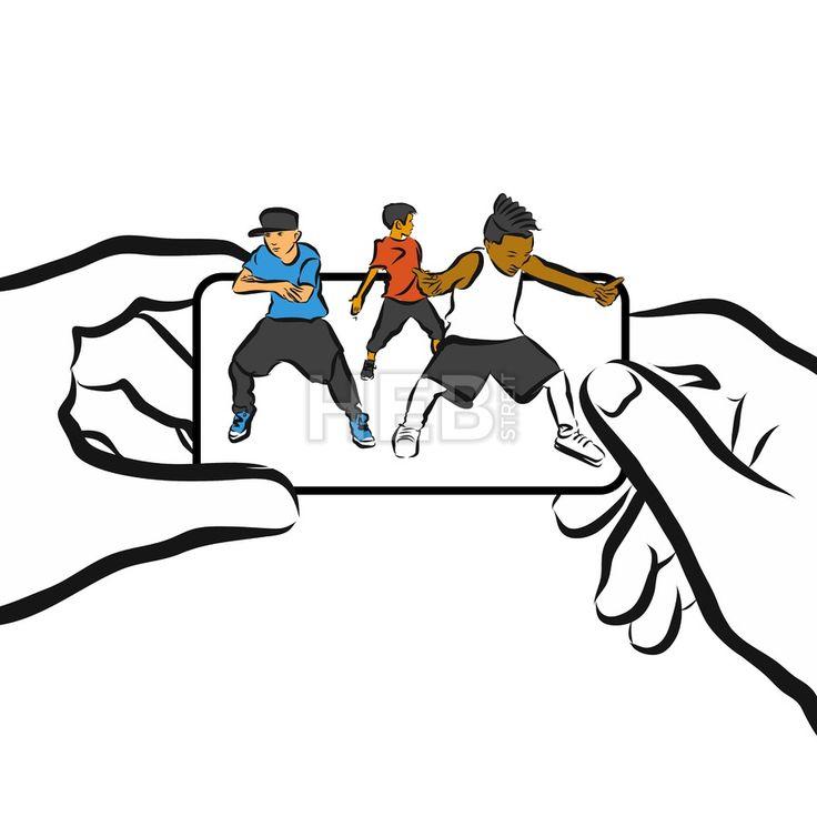 Kids dance on Cellphone, Concept App Design, by Hebstreits #stockimage #vector #design